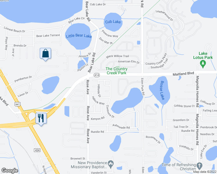 map of restaurants, bars, coffee shops, grocery stores, and more near 5304 Mary Ann Ln in Orlando