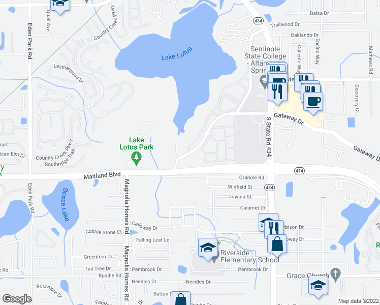 map of restaurants, bars, coffee shops, grocery stores, and more near 912 Gateway Drive in Altamonte Springs