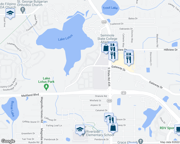 map of restaurants, bars, coffee shops, grocery stores, and more near 838 Grand Regency Pointe in Altamonte Springs