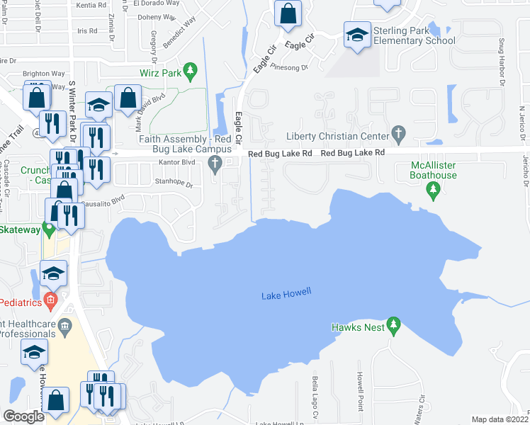 map of restaurants, bars, coffee shops, grocery stores, and more near 101 Lago Vista Boulevard in Casselberry