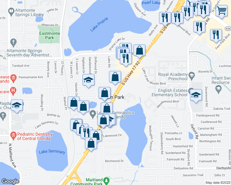 map of restaurants, bars, coffee shops, grocery stores, and more near 365 Garden Edge Point in Fern Park
