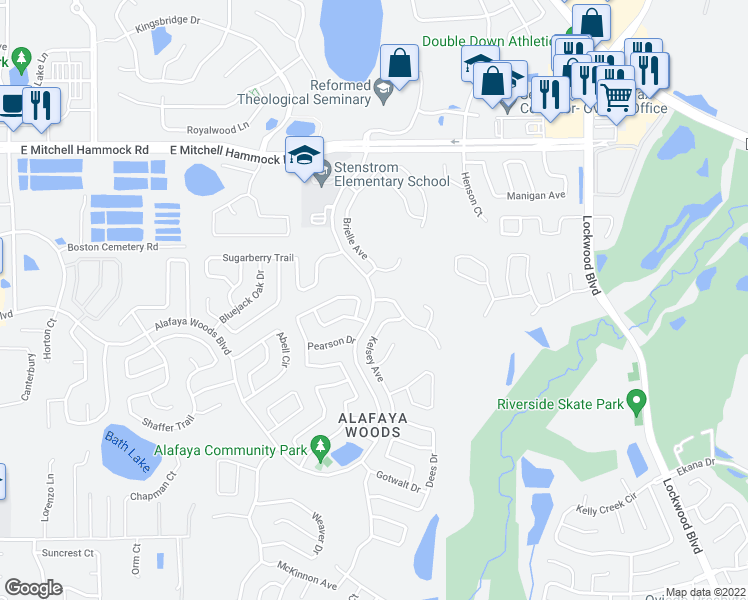 map of restaurants, bars, coffee shops, grocery stores, and more near Alafaya Woods Blvd & McCully Ct in Oviedo