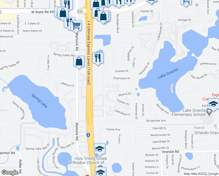 map of restaurants, bars, coffee shops, grocery stores, and more near 555 Northlake Boulevard in Altamonte Springs