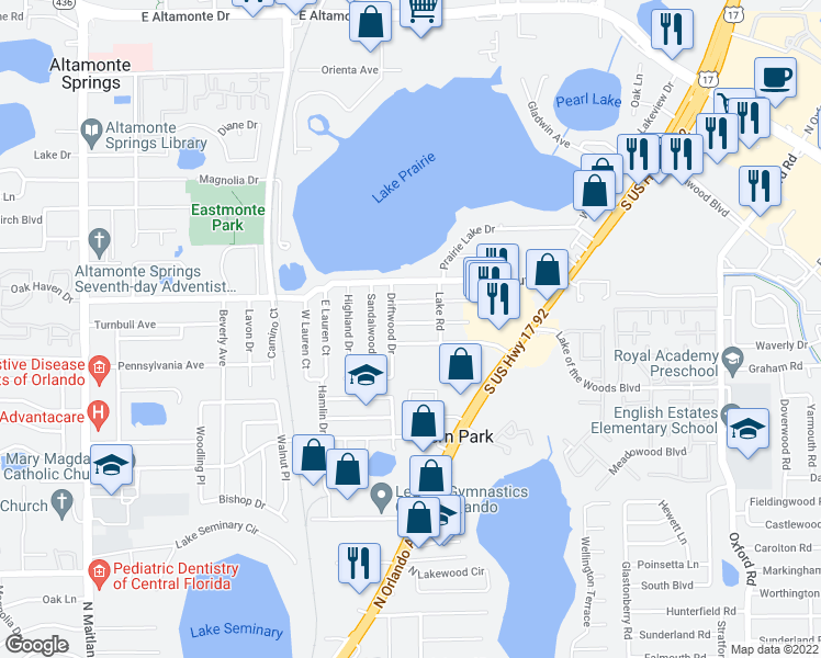 map of restaurants, bars, coffee shops, grocery stores, and more near 308 Pinewood Court in Fern Park