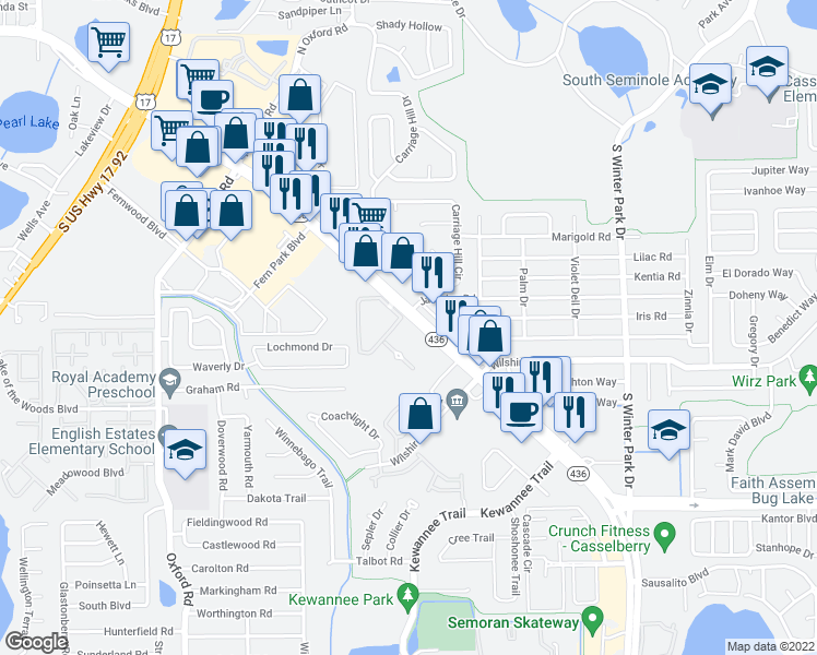 map of restaurants, bars, coffee shops, grocery stores, and more near 234-272 Maltese Circle in Casselberry