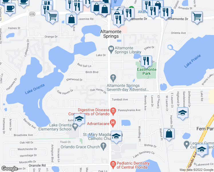 map of restaurants, bars, coffee shops, grocery stores, and more near 677 Post Oak Circle in Altamonte Springs