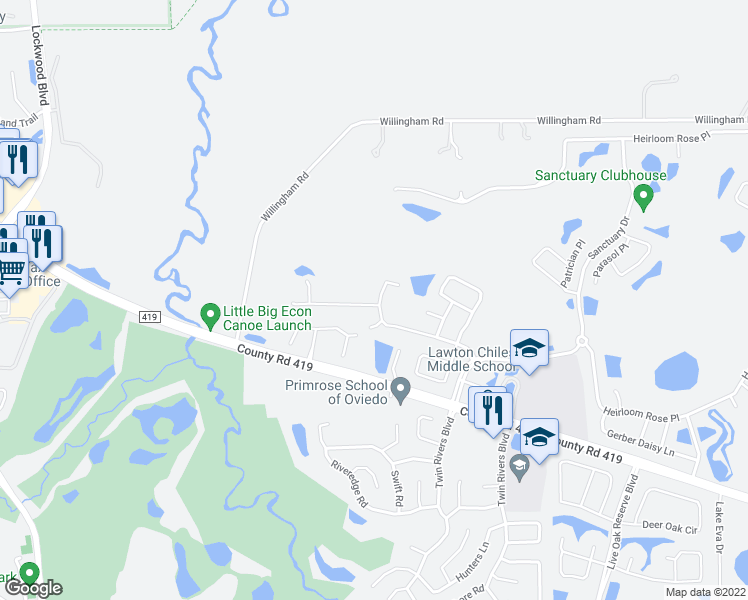 map of restaurants, bars, coffee shops, grocery stores, and more near 2884 Spring Heather Place in Oviedo