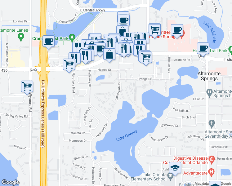 map of restaurants, bars, coffee shops, grocery stores, and more near 394-386 Woodside Drive in Altamonte Springs