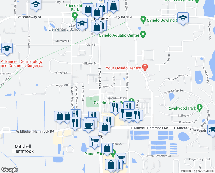 map of restaurants, bars, coffee shops, grocery stores, and more near Wood Street in Oviedo