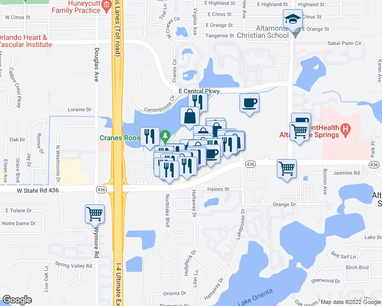 map of restaurants, bars, coffee shops, grocery stores, and more near 285 Uptown Boulevard in Altamonte Springs