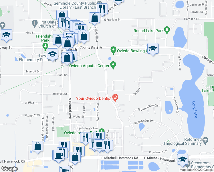 map of restaurants, bars, coffee shops, grocery stores, and more near 450 Fontana Circle in Oviedo