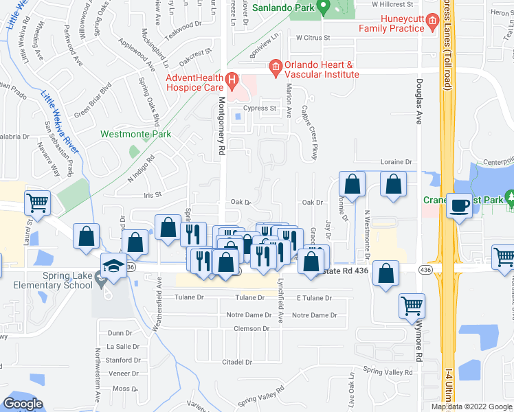 map of restaurants, bars, coffee shops, grocery stores, and more near 492-498 Oak Drive in Altamonte Springs