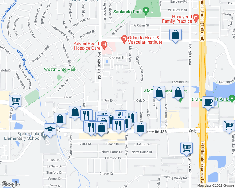 map of restaurants, bars, coffee shops, grocery stores, and more near 311 Los Altos Way in Altamonte Springs