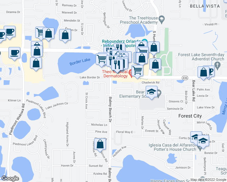map of restaurants, bars, coffee shops, grocery stores, and more near 3024 Orleans Way North in Apopka
