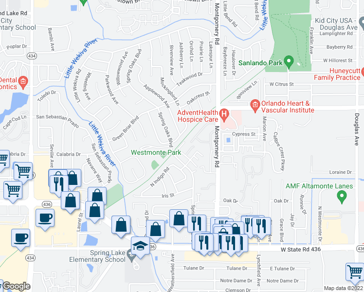 map of restaurants, bars, coffee shops, grocery stores, and more near 3584 Seminole Wekiva Trail in Altamonte Springs