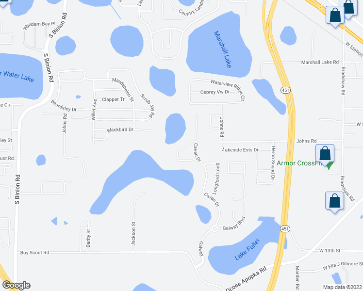 map of restaurants, bars, coffee shops, grocery stores, and more near 1496 Leitrim Loop in Apopka