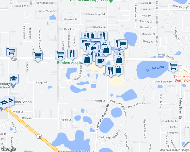 map of restaurants, bars, coffee shops, grocery stores, and more near 518 Lake Bridge Lane in Apopka