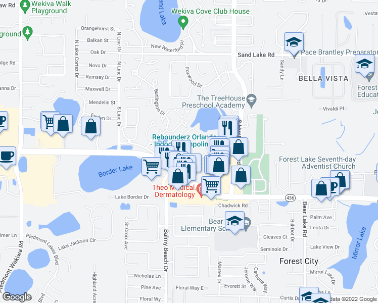 map of restaurants, bars, coffee shops, grocery stores, and more near 3000 Foxhill Circle in Apopka