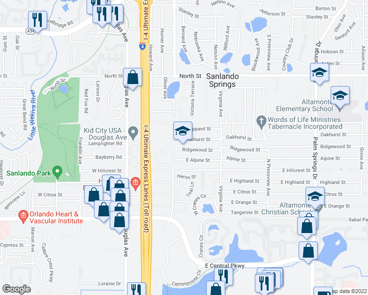 map of restaurants, bars, coffee shops, grocery stores, and more near 226 Oakhurst Street in Altamonte Springs