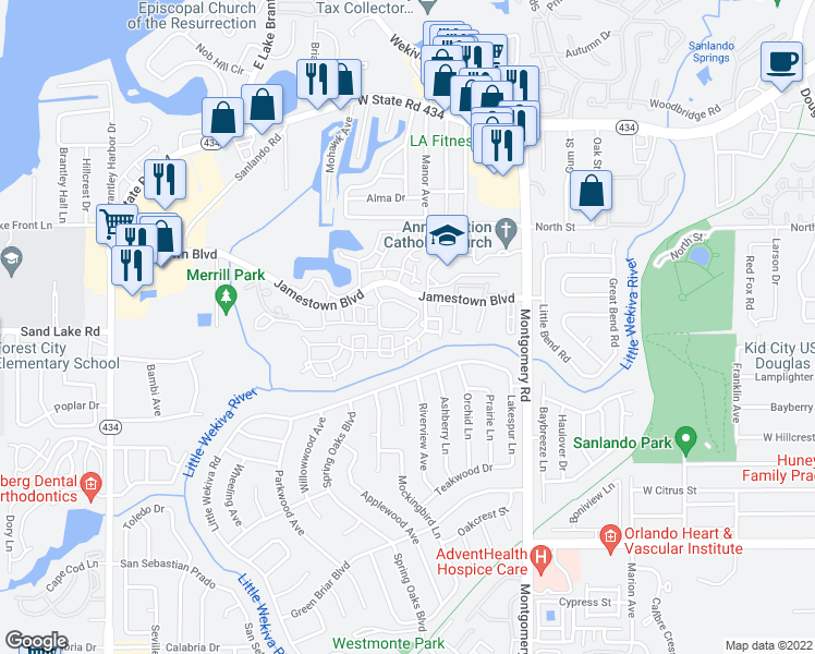 map of restaurants, bars, coffee shops, grocery stores, and more near 600-698 Greencove Terrace in Altamonte Springs