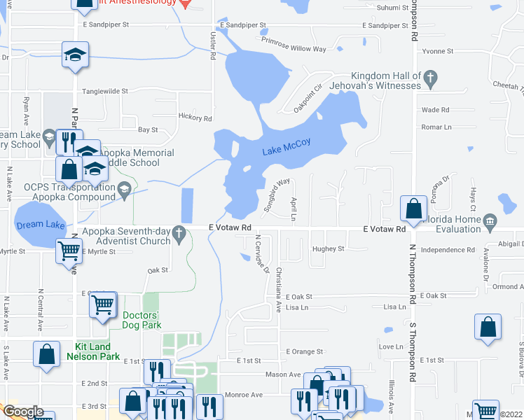 map of restaurants, bars, coffee shops, grocery stores, and more near 422 Songbird Way in Apopka