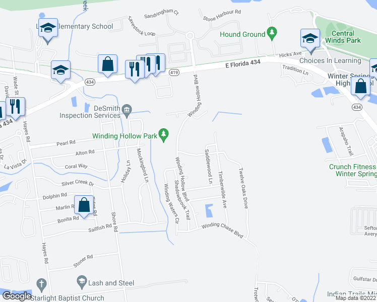 map of restaurants, bars, coffee shops, grocery stores, and more near 306 Twelve Oaks Drive in Winter Springs