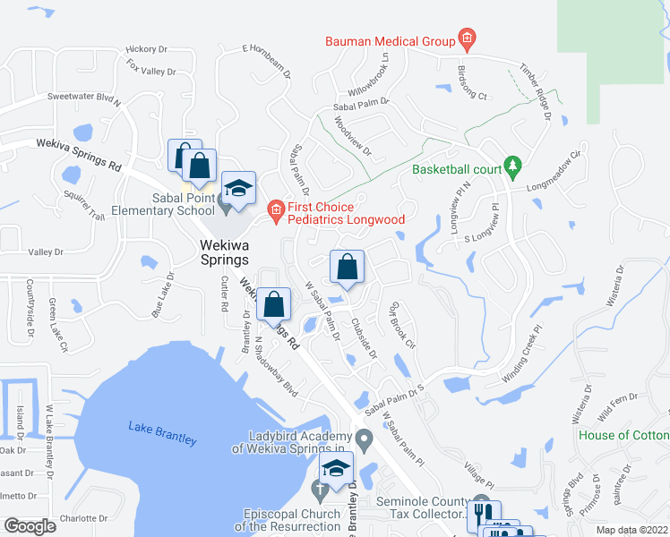 map of restaurants, bars, coffee shops, grocery stores, and more near 525 Sabal Lake Drive in Wekiva Springs