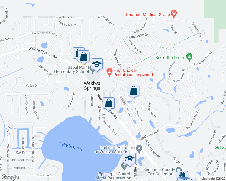 map of restaurants, bars, coffee shops, grocery stores, and more near Sabal Park Place in Wekiva Springs
