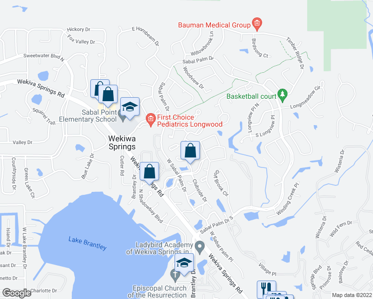 map of restaurants, bars, coffee shops, grocery stores, and more near 525 Sabal Lake Drive in Wekiwa Springs