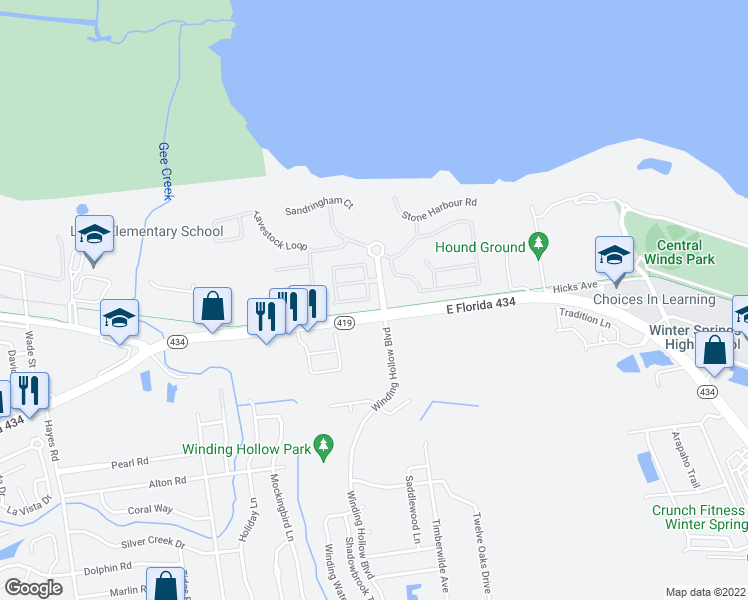 map of restaurants, bars, coffee shops, grocery stores, and more near 440 Cruz Bay Circle in Winter Springs