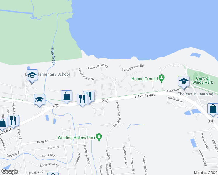 map of restaurants, bars, coffee shops, grocery stores, and more near 854 Caneel Bay Terrace in Winter Springs
