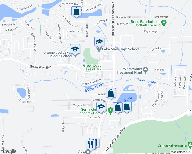 map of restaurants, bars, coffee shops, grocery stores, and more near 2266 Milltowne Way in Lake Mary