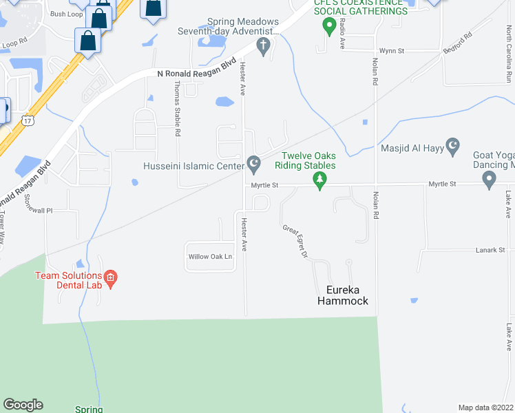 map of restaurants, bars, coffee shops, grocery stores, and more near 1658 Silk Tree Circle in Sanford