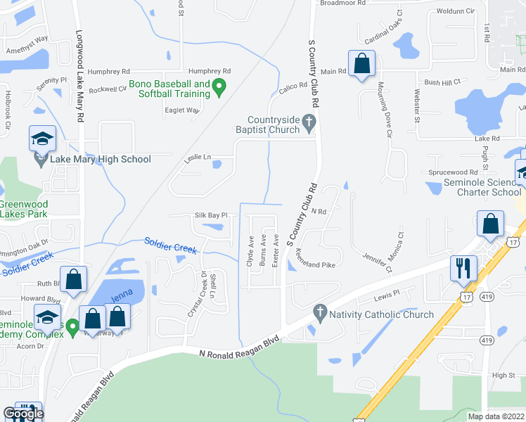 map of restaurants, bars, coffee shops, grocery stores, and more near 180 Austin Street in Longwood