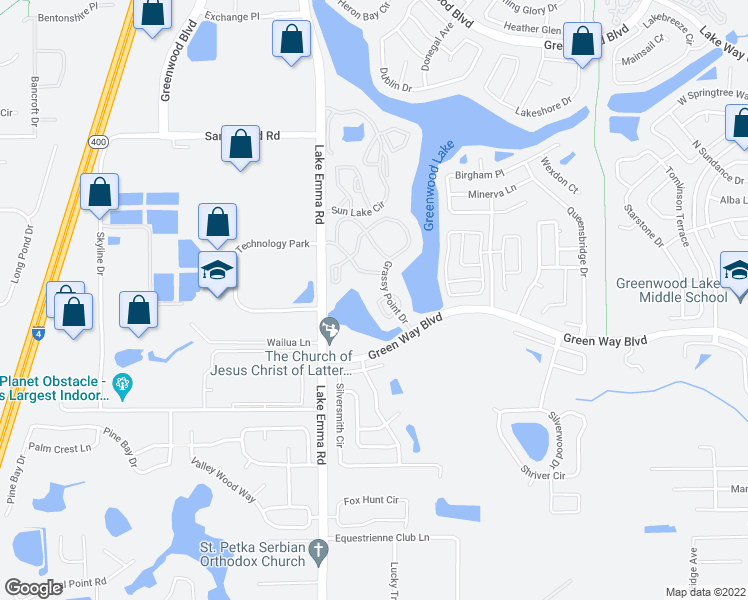 map of restaurants, bars, coffee shops, grocery stores, and more near 2520 Grassy Point Drive in Lake Mary