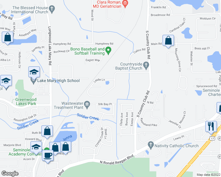 map of restaurants, bars, coffee shops, grocery stores, and more near 230 Leslie Lane in Lake Mary