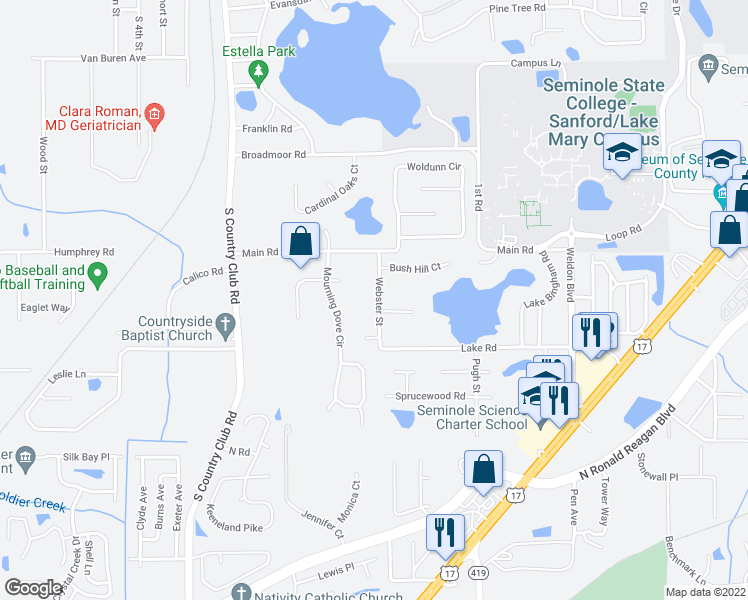 map of restaurants, bars, coffee shops, grocery stores, and more near 536 Webster Street in Lake Mary