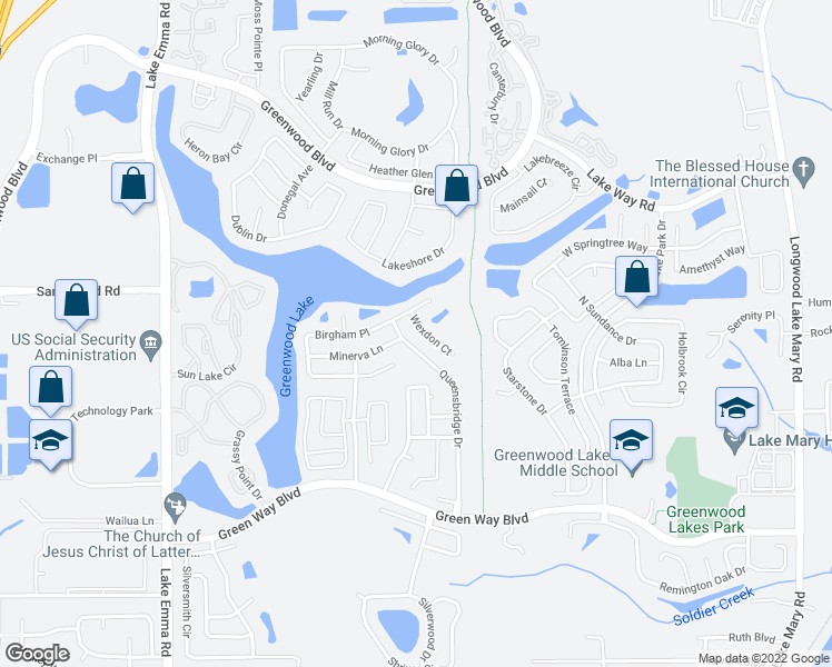 map of restaurants, bars, coffee shops, grocery stores, and more near 476 Wexdon Court in Lake Mary