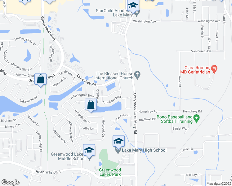 map of restaurants, bars, coffee shops, grocery stores, and more near 415 East Springtree Way in Lake Mary