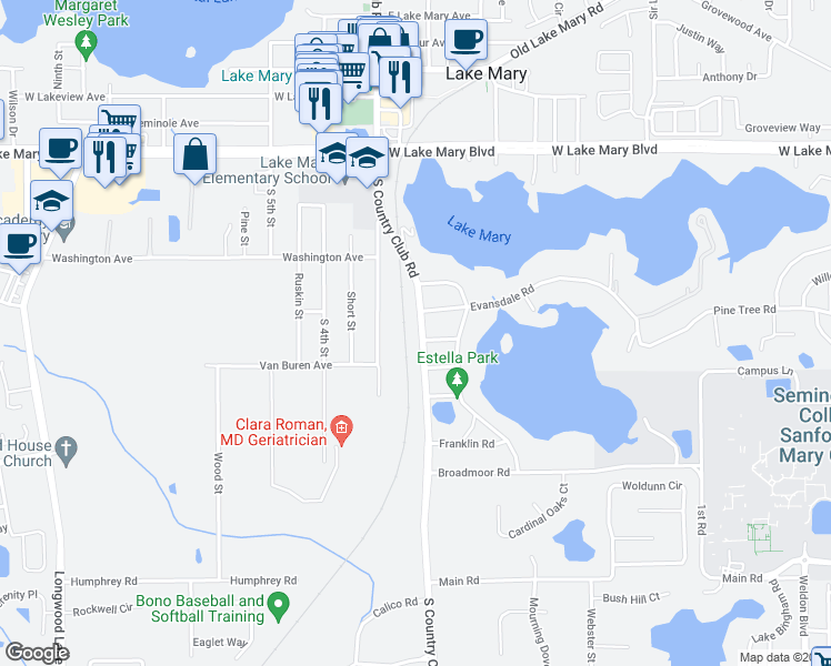 map of restaurants, bars, coffee shops, grocery stores, and more near 268 South Country Club Road in Lake Mary