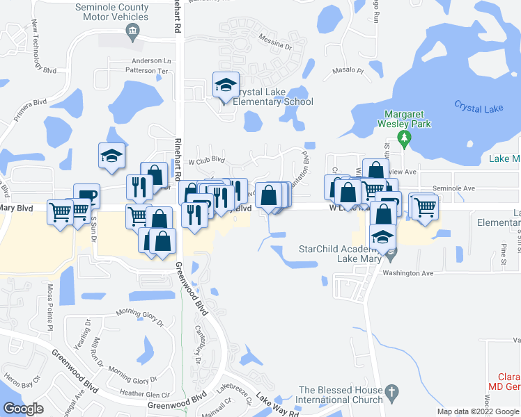 map of restaurants, bars, coffee shops, grocery stores, and more near West Lake Mary Boulevard in Lake Mary