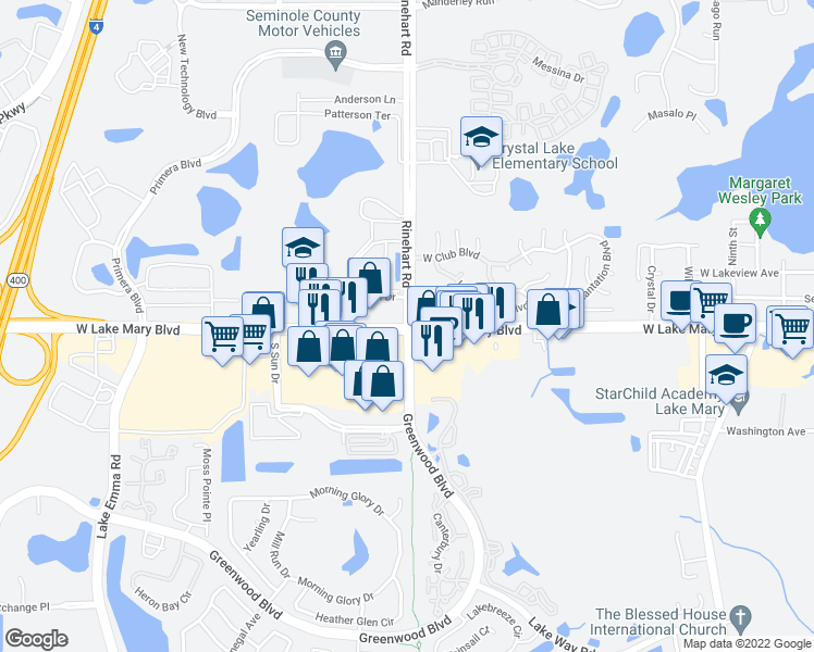 map of restaurants, bars, coffee shops, grocery stores, and more near West Lake Mary Boulevard & Greenwood Boulevard in Lake Mary