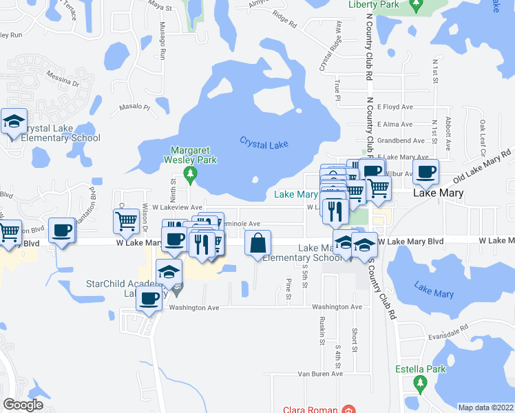 map of restaurants, bars, coffee shops, grocery stores, and more near 265 West Lakeview Avenue in Lake Mary