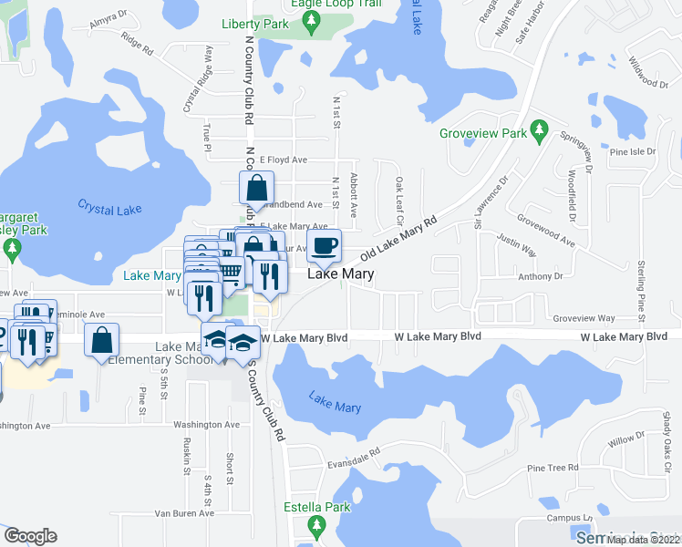 map of restaurants, bars, coffee shops, grocery stores, and more near in Lake Mary
