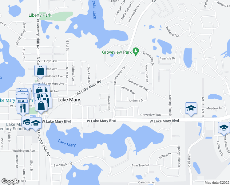 map of restaurants, bars, coffee shops, grocery stores, and more near Sir Lawrence Drive in Sanford