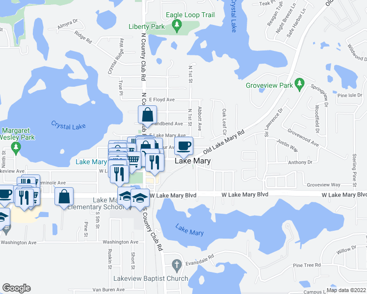map of restaurants, bars, coffee shops, grocery stores, and more near 186 East Wilbur Avenue in Lake Mary