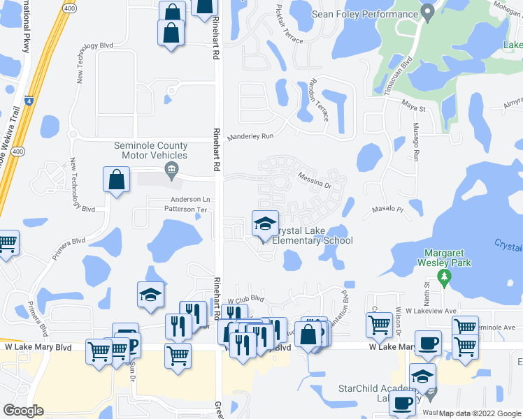 map of restaurants, bars, coffee shops, grocery stores, and more near 920 Lobelia Drive in Lake Mary