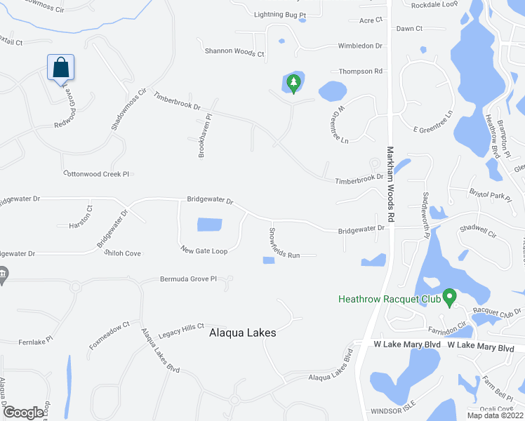 map of restaurants, bars, coffee shops, grocery stores, and more near 1678 Bridgewater Drive in Lake Mary