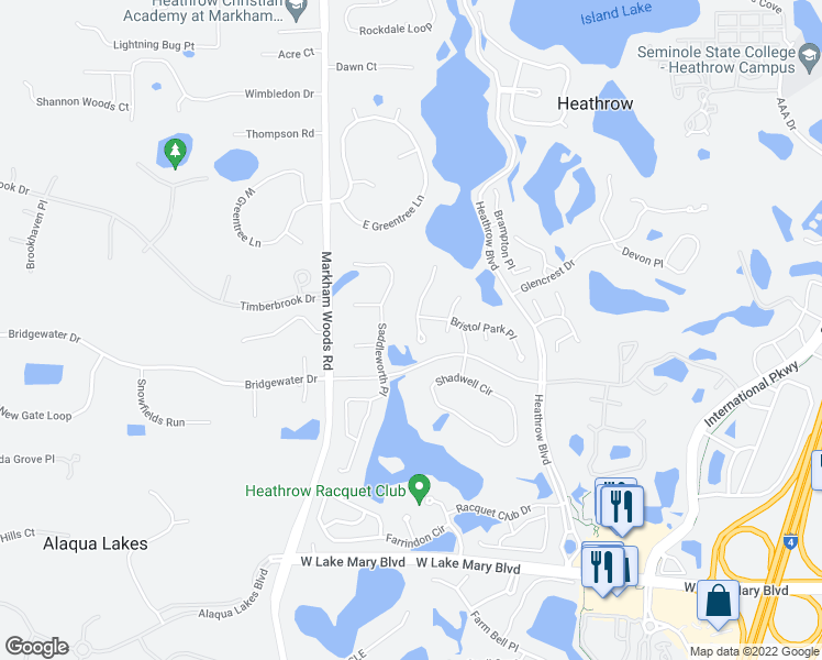map of restaurants, bars, coffee shops, grocery stores, and more near 316 South Spaulding Cove in Lake Mary
