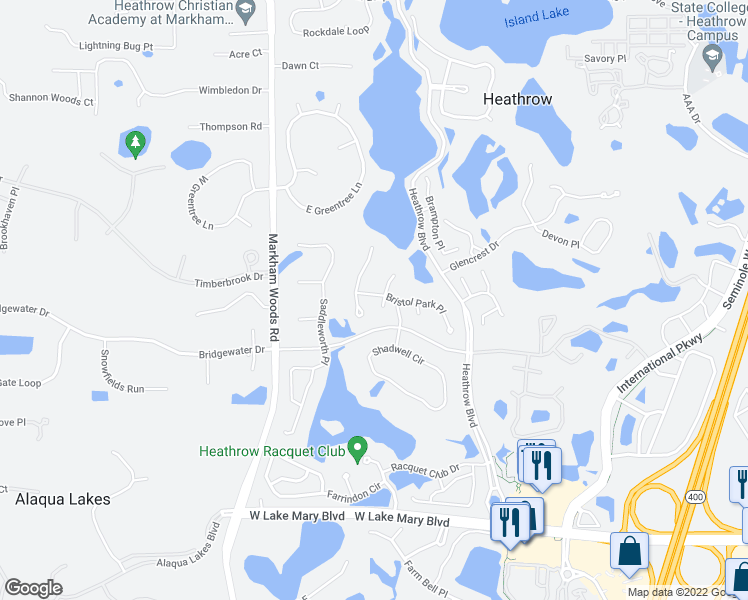 map of restaurants, bars, coffee shops, grocery stores, and more near 1455 Bristol Park Place in Lake Mary